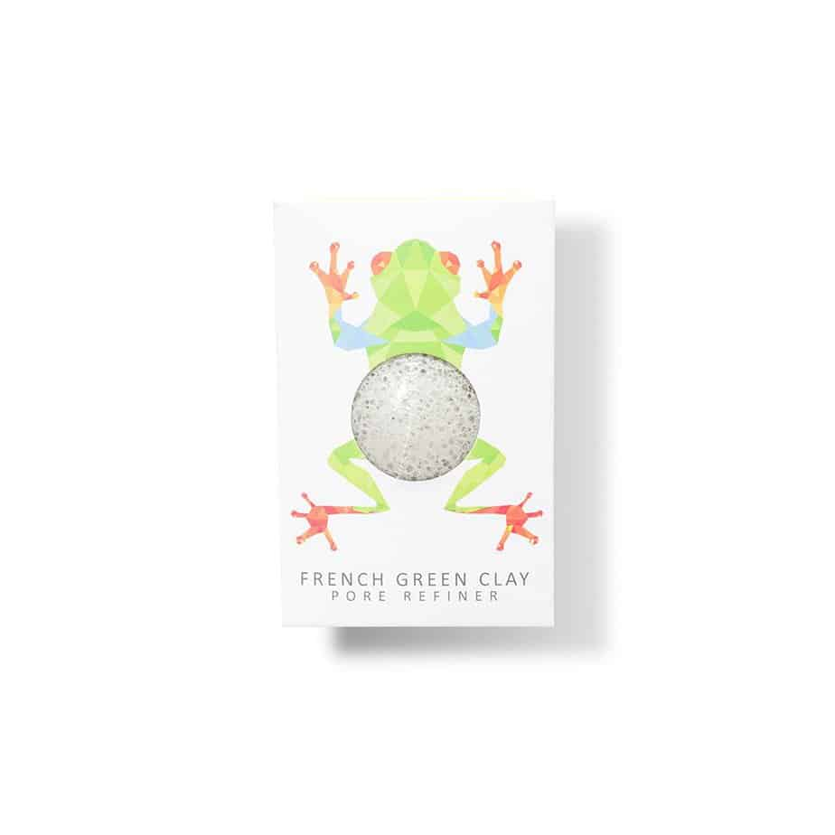 RAINFOREST FROG MINI FACE KONJAC SPONGE FRENCH GREEN CLAY