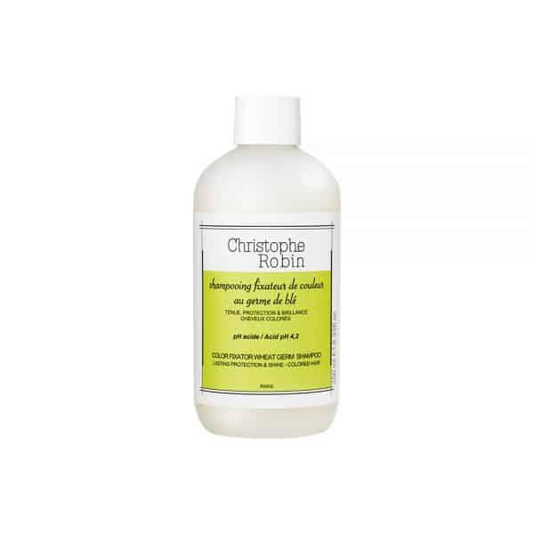 Color fixator wheat germ shampoo Christophe robin cabello tenido