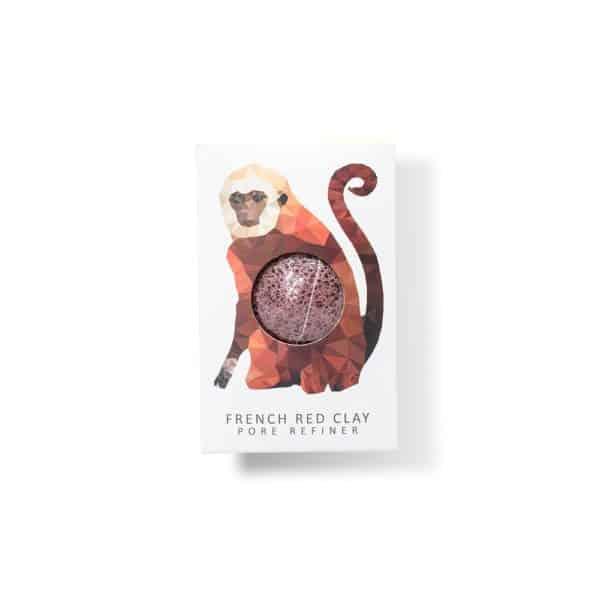 Rainforest monkey mini face konjac sponge french red clay Konjac sponge piel rosacea eczema x